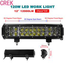 Hot 12Inch 120W LED Flood/Spot Combo Work Light Bar Offroad Driving 4WD Truck ATV