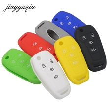 jingyuqin Silicone Rubber Flip Car Key Cover Case for Ford Mustang Fusion Fiesta 4 button Remote Folding Key Fob Wallet Holder(China)