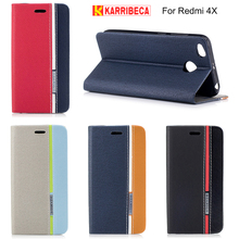Karribeca flip wallet leather case For xiaomi redmi 4X funda capas colorful tone phone cover redmi 4x coque etui kryt puzdra tok