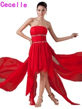 Red High Low Chiffon Prom Cocktail Dresses Strapless Beaded Informal Cocktail Party Dresses Pleats Juniors Prom Cocktail Robes