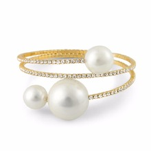 2018 New fashion factory Wholesale women gold color round simulated pearl cuff Bracelet bangle Jewelry 80173(China)