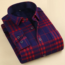 Fashion Winetr Men Plaid Shirt Thick Fleece Warm Long Sleeve Leisure Plus Velvet Shirt Male Thermal Warm Shirts Clothing S-4XL