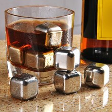 ASLT8Pcs/lot Whiskey Wine Beer Stones 440C Stainless Steel Cooler Stone Whiskey Rock Ice Cube Edible Alcohol Physical Chiller