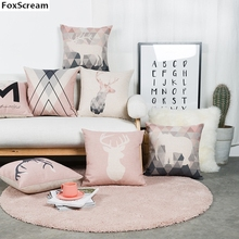 Animal Nordic Style Decorative Throw Pillows Case Pink Deer Geometric Cushion Cover Black Chair Couch Pillow Cover for sofa