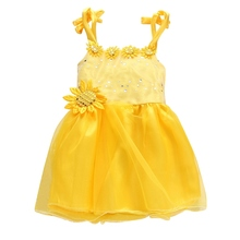 Sunflower Baby Girls Princess Strap Dress Wedding Party Pageant Tulle Dresses