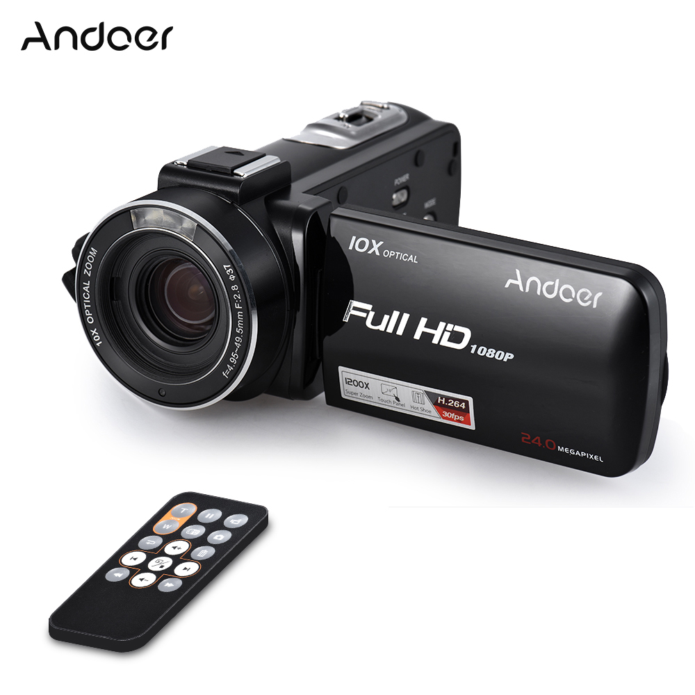 "Andoer HDV-Z82 3"" LCD Touchscreen Video Camera 1080P 24MP Digital Camcorder Remote Control Face Detect w/ Wide Angle Lens / Mic(China (Mainland))"