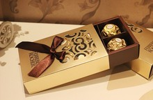 50pcs Wedding Favors gold color chocolate packaging 6 hole Baby Shower Paper Candy Gifts Box Ferrero Rocher Boxes