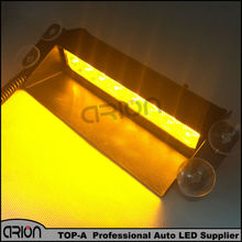 CRION Amber Yellow Color 8 LED Strobe Flash Warning Police Car Light Flashing Firemen Fog 8LED High Power free shipping