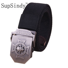 SupSindy men's Canvas belt Skull Cross metal buckle  military belt Army tactical belts for Male top quality men strap Army green