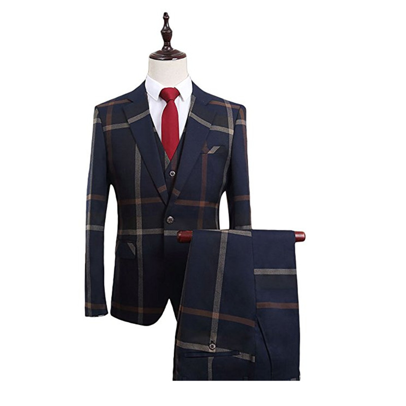 HTB1iviVSFXXXXX.apXXq6xXFXXX0 - YFFUSHI Men Suit With Pants 2 Pieces Classic Grey Navy Plaid Tuxedo Business Casual Grooms Wedding Suits for Men Plus 6XL