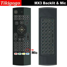 Tikigogo Backlit MX3 backlight with Mic Voice microphone 2.4G wireless mini keyboard fly air mouse IR learning remote controller