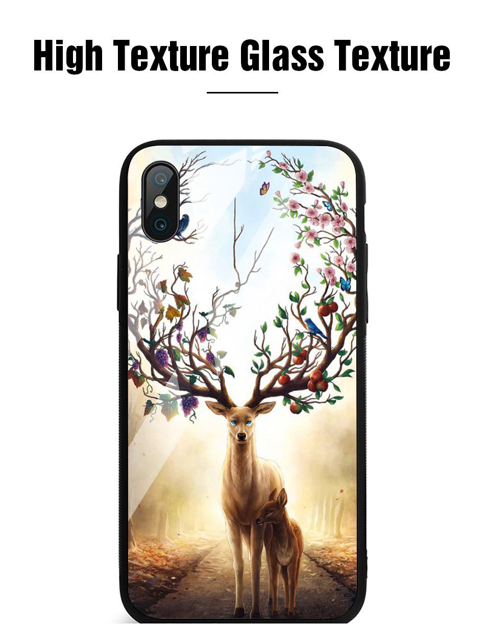 TOMKAS Animal Glass Case For iPhone X 8 7 6s 10 Cover Phone Cases For iPhone X 7 8 6 s Plus Case Luxury Cute TPU PC Covers Coque (1)