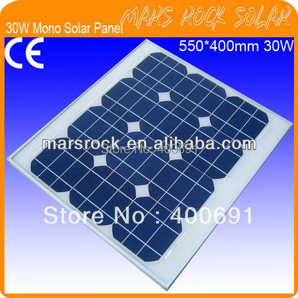 30W 18V Mono Silicon Solar Panel Module with Special Technology, Beautiful Appearance, Fend Against Snowstorm, CE, TUV, RoHS, UL<br>