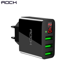 LED Display 3 USB Charger, ROCK Universal Mobile Phone USB Charger Fast Charging Wall Charger For iPhone Samsung Xiaomi Max 2.4A(China)