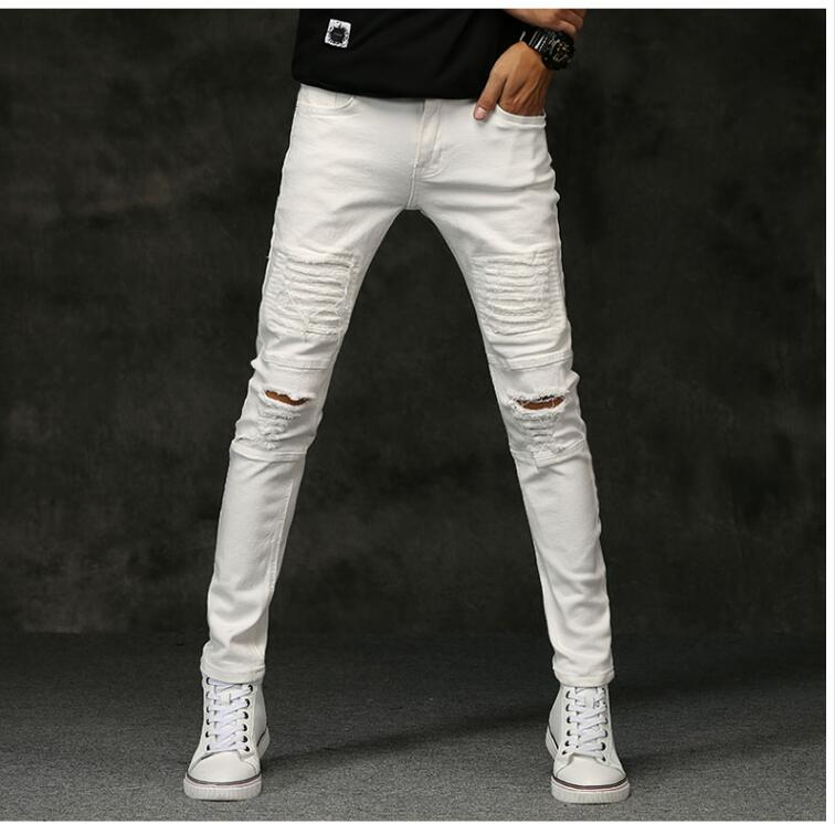 Babbytoro Men Jeans 2017 Autumne Winter Elastic Harem Hole Decoration Denim Skinny Stretch Jeans Pants White BlackÎäåæäà è àêñåññóàðû<br><br>
