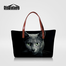Dispalang cool black cat animal prints women handbag fashion luxury shoulder bags larger top-handle totes girls summer beach bag