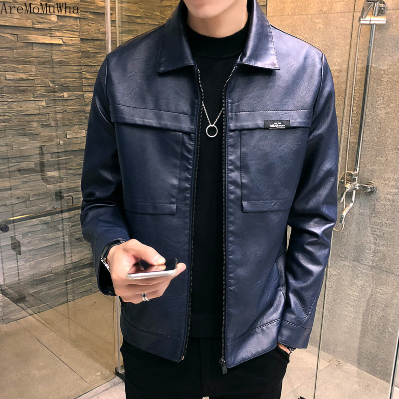 AreMoMuWha 2019 New Spring and Autumn PU Leather Jacket Slim Korean Version of The Tide Youth Handsome Caot Men Fur JacketQX741