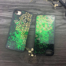 Green Glitter Powder Quicksand Square/Triangle Tetris Protection Plastic Cover Coque Bling Phone Case For iPhone 6 6S 7 7 Plus