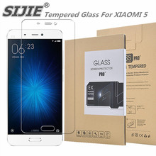 SIJIE Tempered Glass For XIAOMI 5 0.26mm MI5 MI 5 Screen Protector front stronger 9H thin discount with Retail Package Hard BOX