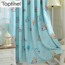 Top Finel Cartoon Bird Pattern Finished Blackout Curtains for Kids Children Living Room the Bedroom Window Curtain Panel Drapes(China)