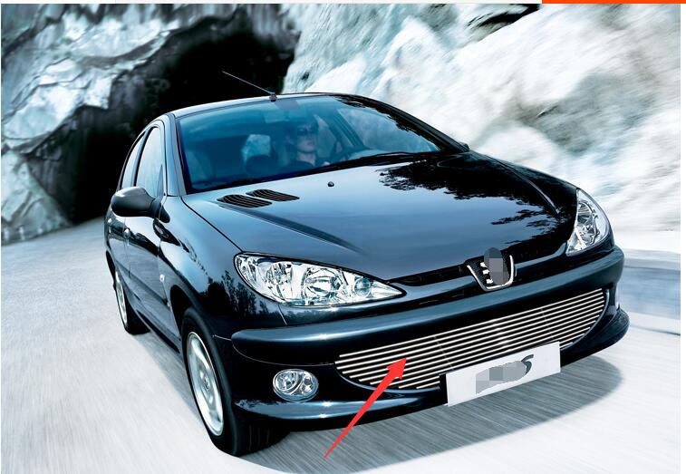stainless steel Front Grille Around Trim Racing Grills Trim For 2004-2008 Peugeot 206<br><br>Aliexpress
