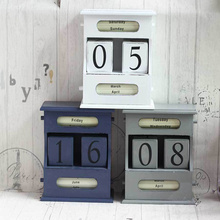 Zakka Vintage wooden perpetual calendar office desktop small ornaments furnishings crafts home decoration accessories