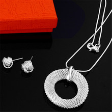 Free shipping 1set/lot  silver plated charm new mesh pendant fashion Lady women earring necklace set jewelry Christmas gift