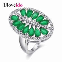 Uloveido Green Leaf Costume Jewelry Rings for Women Wedding Ring Female Jewellery Women's New Year Gifts Party Decorating PJ100(China)