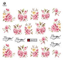 Nail Salon 1pcs New Latest Pink Rose Flower Vine for DIY Nails Toes Decorations Water Transfer Sticker Nail Art Decals SAA403(China)