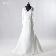 LZ148 Sexy V-Neck Backless Wedding Dresses Long sleeve Bridal Gown Cheap Wedding Dress(China)