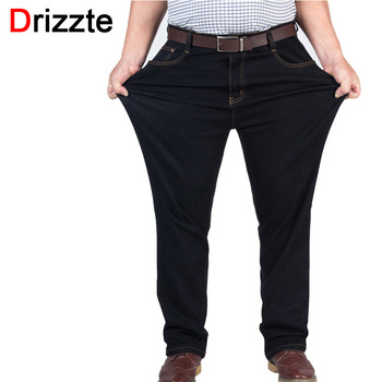Drizzte Mens High Stretch Plus Size 38 40 42 44 46 48 Jeans Black Denim Business Jean Relax Business Work Trousers Pants