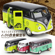 Free shipping Pull back Vintage VW bus 1:36 Alloy Diecast Models Car Toy Collection For Boy Children As Gift brinquedos meninas(China)