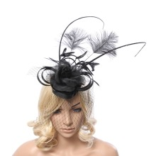 Ladies fascinators black flower feather sinamay hats women hair accessories elegant fascinators for party and races