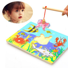 New Cute Creative Wooden Magnetic Fishing Game & Jigsaw Puzzle Board Children Toy Action Figures for Kids Early Education(China)