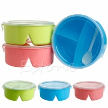 Portable Round Food container Plastic Lunch Box kids lunch box lovely Dinnerware cutlery for kid food Container Storageand spoon
