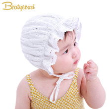 Princess Newborn Baby Girl Hat Lace-up Sequins Baby Bonnet Enfant Sleep Cap for 0-2 Years White/Coffee(China)