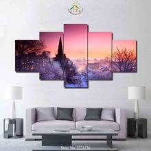3-4-5 Piece Winter Country View Art Set Poster Home Goods Wall Art Canvas Painting HD Prints for Home Decor for Living Room(China)