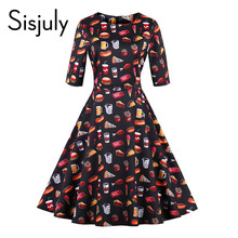 Sisjuly vintage autumn dresses women cute floral food print 1950s style a line mid-calf party elegant vintage dresses new 2017(China)