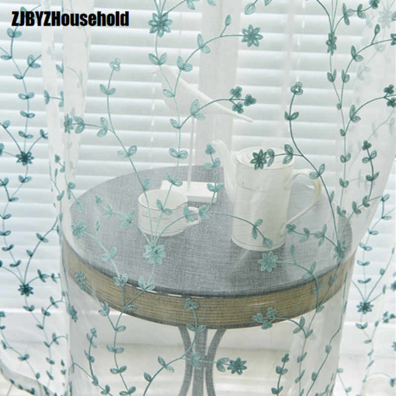 Fresh garden embroidery curtain supporting guaze window Tulle yarn sheer for living room dining bedroom