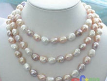 "NEW long 48"" 8-9mm baroque white+Pink+Purple freshwater pearl necklace AAA"