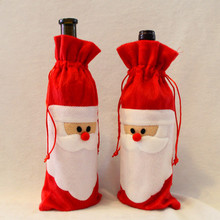 1 Piece Red Wine Bottle Cover Bags Christmas Dinner Table Decoration Home Party Decors Santa Claus(China)