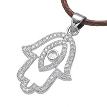 New Fashionable Wonderful Fatima Hand Fine Quality Micro Pave Zircon Pendant Necklace Top Micro-Inlaid Craft Production(China)