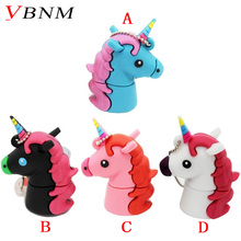 VBNM New style Cartoon white Unicorn style flash drive real capacity cute horse  4G 8G 16G 32G flash memory drive Usb stick