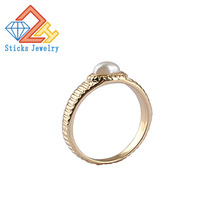 Modern Minimalism Engagement rings(2Pieces/lot)Beautiful Cute Simple Round Jewelry White Pearl Gold Ring Wholesale