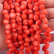 "4-6x5-7mm Natural Coral Pink Carved Flower Gem Stone Beads Strand 15"" For DIY  Jewelry Making,Free Shipping"
