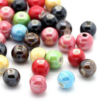 "50PCs Ceramic Charm Spacer Beads For Jewelry Making Round Beads Mixed 6mm( 2/8"")Dia. HOT sale DIY Findings Fit Bracelet Necklace"
