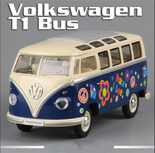 KINGSMART 1962 Volkswagen 1:24 Scale Diecast Bus Toys, Painting Onibus, Door Openable Model Car Toy For Collection / Gift(China)