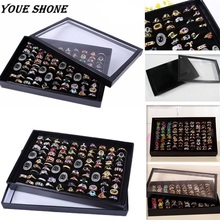 YOUE SHONE Leather PU Jewelry Box Soft Black Ring Earrings Bracelet Necklace Velvet Display Cufflinks Storage Tray Case Holder(China)