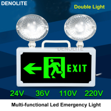 Safety Exit Evacuation Indication Led Fire Emergency Light Multi-function Double-head 5W Led Emergency Lamp AC24/36/48/110/220V(China)