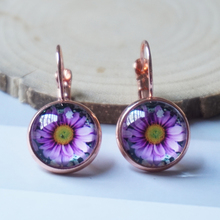 Purple chrysanthemum dangle earring fashion retro vintage flowe earring glass earing(China)